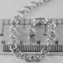 SOLID 18K WHITE GOLD CHAIN 17.70 IN, ROUND CIRCLE ROLO LINK, 4 MM MADE IN ITALY image 5
