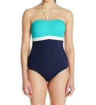 Tommy Hilfiger One Piece Sz 6 Navy Turquoise Cinched Halter Swimsuit TH4... - $39.53