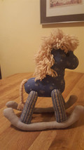 Embroidered Handmade Rocking Horse with yarn mange and tail, made from v... - $10.00