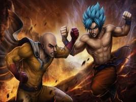 Saitama vs. Goku Metal Sign - $19.95