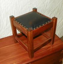Pine Black Leather Mission Footstool / Stool  (ST9) - $149.00