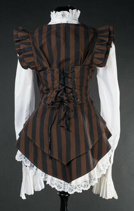 Brown Black Striped Steampunk Victorian Gothic Corset Back Vest Frilly Waistcoat