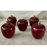 Vintage Wooden Apples Faux Fruit Rustic Wood Set of 6 Farm House Cottage... - $23.38