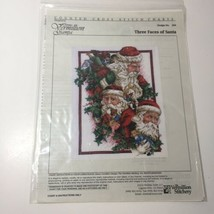 Three Faces of Santa Cross Stitch Pattern Chart Vermillion Stitchery  - $9.74