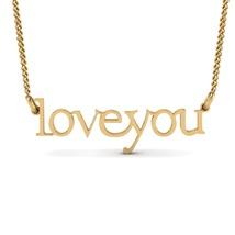 """Women's """"LOVE YOU"""" Pendant With Chain 14k Yellow Gold Plated 925 Sterling Silver - $46.99"""
