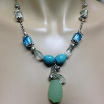 Vintage, Avon, Synthetic Jade, Turquoise and Glass Beads  18in Necklace - $14.20