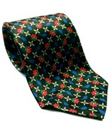 Countess Mara For Lord & Taylor Floral Black Red Blue Men's 100% Silk Ne... - $20.00