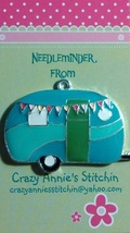 Happy Camper - Blue Needleminder cross stitch needle accessory - $7.00