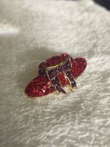 Vintage Red Hat Society Glass & Metal Lapel Brooch Pin image 10
