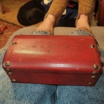 """ANTIQUE VINTAGE Japan Red LEATHER JEWELRY BOX-  6.5""""X 3.5""""X 2.5"""" - $23.36"""