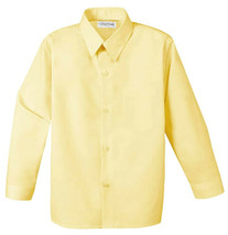 Berlioni Italy Kids Boys Long Sleeve Button Up Yellow Casual Dress Shirt