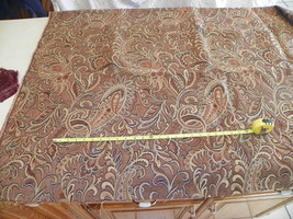 Tan Gold Brown Paisley Print Upholstery Fabric 1 Yard  F1134 - $39.95