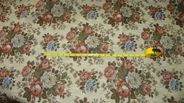 Tan Rust Green Flower Print Tapestry Upholstery Fabric 1 Yard  F1121 - $29.95