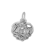 Sterling Silver Cut Out Mom Design Heart Charm - $11.95
