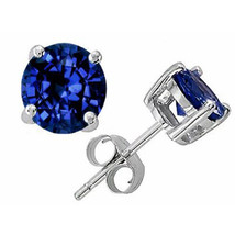 3.00 CT 7mm 14K SOLID WHITE GOLD BLUE SAPPHIRE ROUND SHAPE STUD EARRINGS... - $54.58