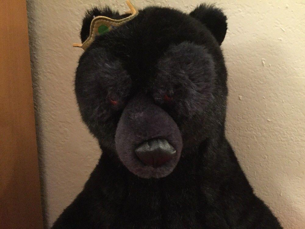 "Disney Pixar Brave Queen Elinor Plush 22"" Jointed Black Bear With Crown"