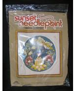 Vintage Sunset Needlepoint Oriental Inspiration Craft Kit Sealed Flowers  - $19.78
