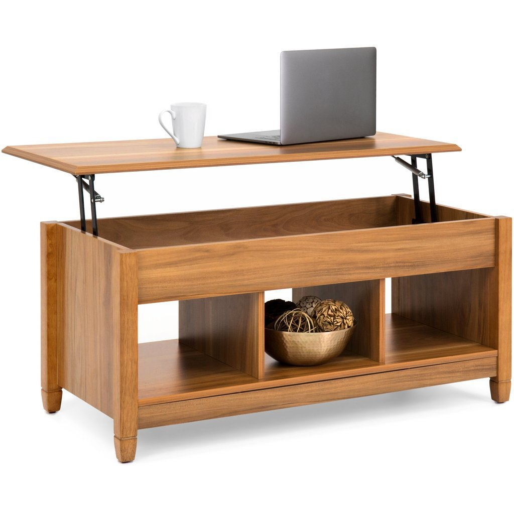 Modern Lift Top Coffee Table w/ Hidden Storage - Golden Oak for sale  USA