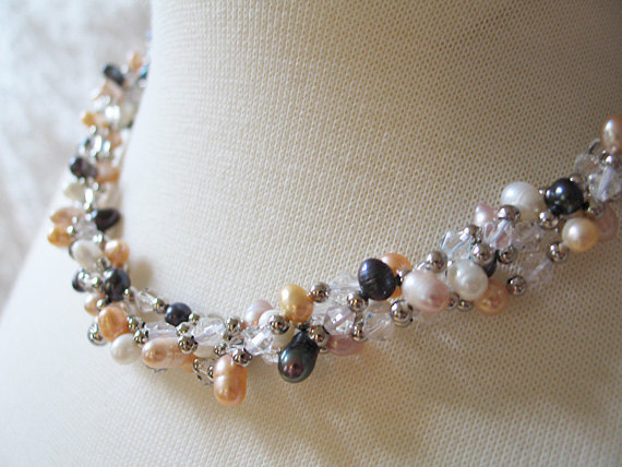 4 Strand Twisted Multi-Color Genuine Freshwater Pearl Nugget Necklace