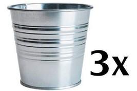 """Ikea Socker, Galvanized Steel Flower Plant Pot Set of 3, 4.25"""" Inside Di... - $16.60"""