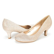DREAM PAIRS Women's Luvly Gold Bridal Wedding Low Heel Pump Shoes - 8 M US - $49.37
