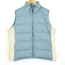 Eddie Bauer Goose Down Quilted Puffer Winter Jacket Vest Blue Ivory Wome... - $40.36