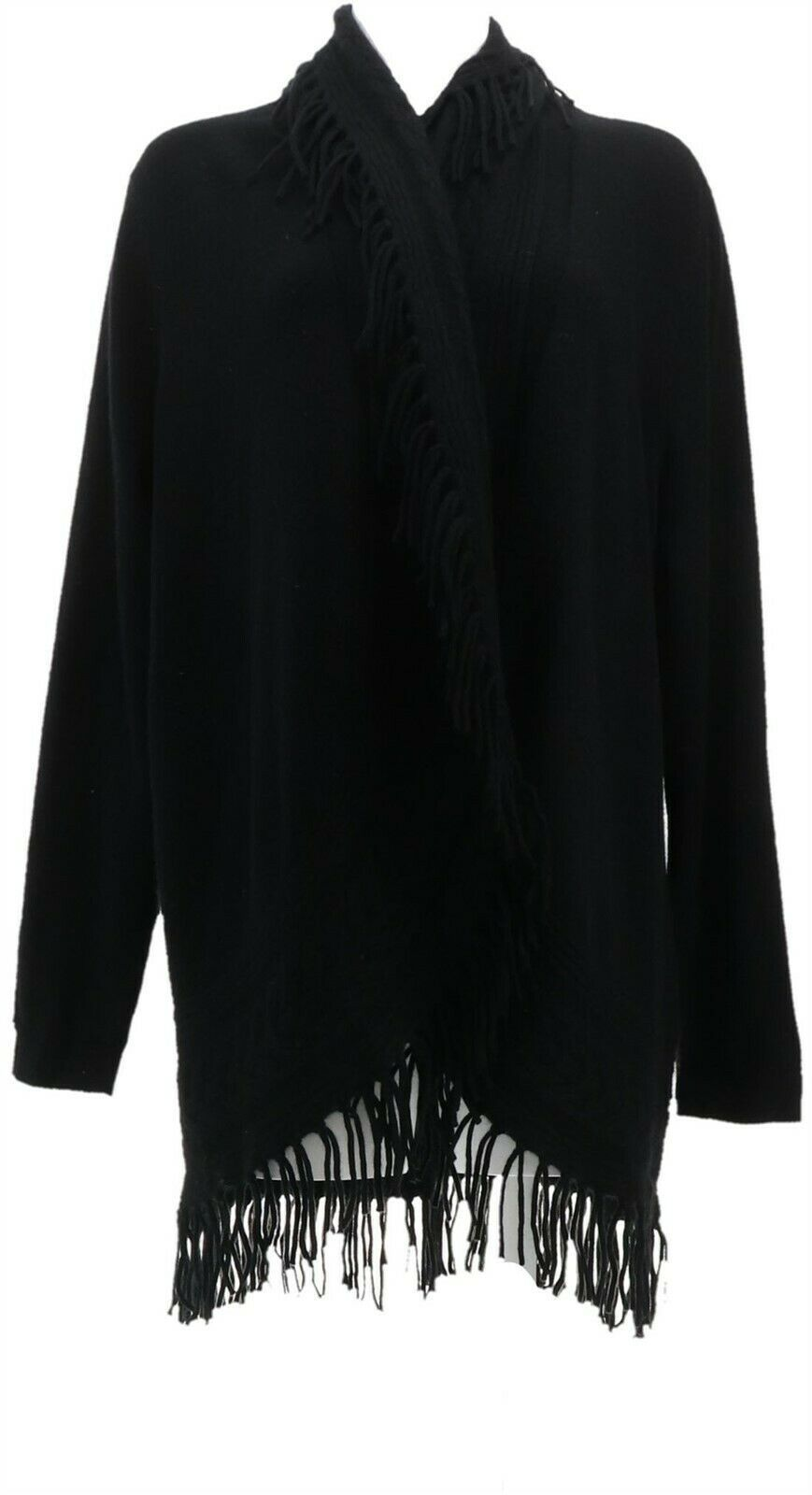 Primary image for Isaac Mizrahi 2-Ply Cashmere Cable Cardigan Fringe Black S NEW A343869
