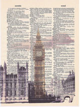 Art N Wordz London Big Ben Original Dictionary Sheet Pop Art Print Wall/... - $24.99