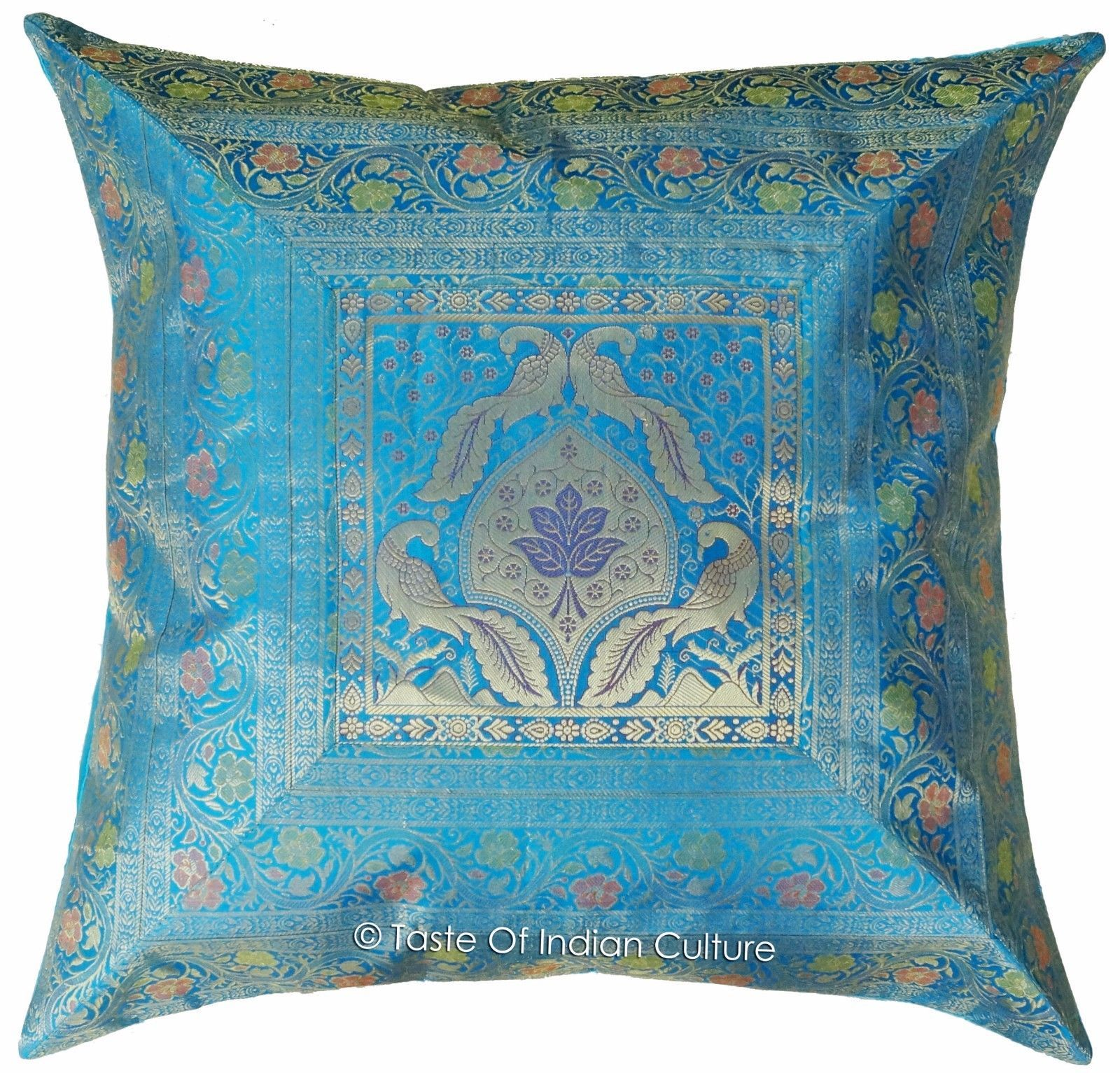 "Primary image for 26""x26"" Turquoise Blue Euro Sham Pillow Cover Brocade Cushion Throw Indian Decor"