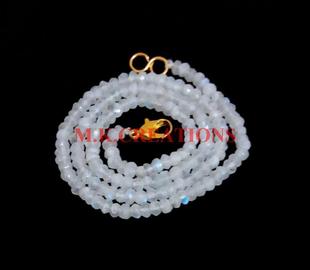 "Primary image for Natural Rainbow Moonstone 3-4mm Rondelle Faceted Beads 28"" Long Beaded Necklace"