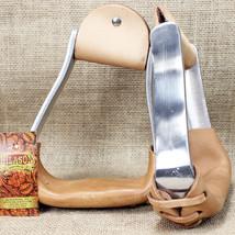 Hilason Aluminium Slanted Horse Saddle Stirrups W/ Leather Tread U-DCAL - $65.92