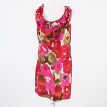 Rose red pink floral print cotton blend ANN TAYLOR LOFT sleeveless shift... - $29.99