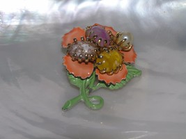 Vintage Orange Enamel Flower with Pronged Plastic Swirly Oval Cabs Cente... - $10.39