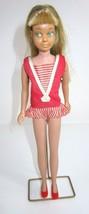 VTG 1960's Blonde Skipper Barbie Original Swimsuit Red Shoes Brush & Stand - $51.22