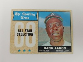 1968 Topps Baseball Card Hank Aaron All Star #370 Atlanta Braves Hall of... - $14.50