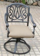 Outdoor dining chairs patio seat swivel rocker cast aluminum Elisabeth furniture image 2