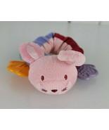 Pink Stuffed Plush Scrunchie Bunny Rabbit Baby Rattle Teether Teething Toy - $19.77