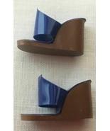 Vintage Barbie Blue Knit Slacks Fashion PAK Blue Plastic Wedge Shoes   236-03 - $20.00
