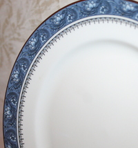 "Blue Mist 8.25"" Salad Plate Platinum Trim Bone China Made in England by Aynsley image 4"