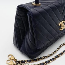 100% AUTH CHANEL CHEVRON QUILTED CALFSKIN ROYAL BLUE MEDIUM COCO HANDLE BAG GHW image 5