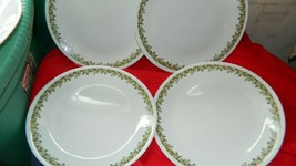 CORELLE SPRING BLOSSOM GREEN 9&3/4 INCH RARE SIZE DINNER PLATE x 4 FREE ... - $32.71