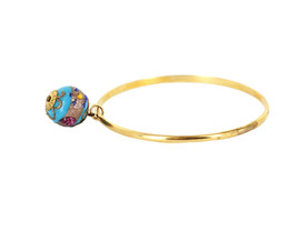 Antique Deco 12k GF Murano Venetian Glass Wedding Cake Bead Bangle Bracelet - $101.24