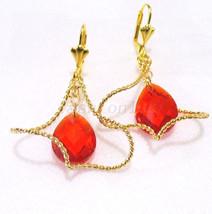 De Mujer Grande Rojo Elemento Swarovski Cristal 24K Baádo en Oro Amarillo - $18.72