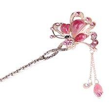 Bridal Headdress Hair Ornaments Handmade Classical Hairpin, Pink Gem