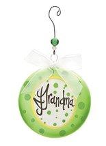 DEMDACO Grandma Green Polka Dot Glass Disk Ornament Gift Boxed - $8.88