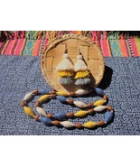 Tribal jewelry Set, Tassel Earrings, wood beaded necklace, Boho handmade... - $32.85