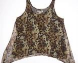 Chiffon Blouse WD.NY Womens SMALL Animal Print Tank Shirt Top Asymmetric Hem 4 6