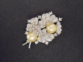 Pennino Brooch Fantasy Flower Rhinestone Brooch Rhodium Plate Vintage 19... - $90.25
