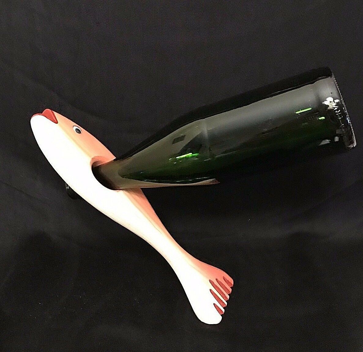 DUNN'S WOODWORKS 1992 Wood Carved FISH/BASS Wine Bottle BALANCE, Amazing!