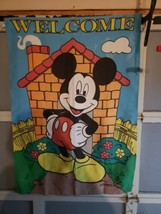 Disney Decorative Flag Mickey Mouse Welcome Nylon Applique 29 x 41 Outdo... - $19.79